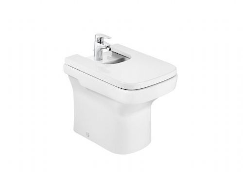 Roca Dama-N Compact Floor Standing Bidet - Soft Close Bidet Cover - 1 Tap Hole - White
